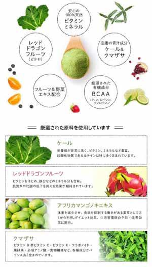 すごくおいしいフルーツ青汁GOKURICHの成分表